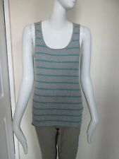 ATMOSPHERE - GREY/GREEN STRIPED C NECK RIBBED VEST TOP  size 14 - 100% COTTON