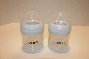 Set 2 Avent natural 4 oz baby bottle newborn bottle and lid no nipple included