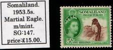 SOMALILAND 1953. MARTIAL EAGLE. 5s.MOUNTED MINT.SG.#147