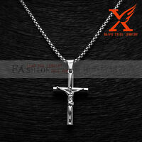 New Stainless Steel Silver Cross Jesus Christ Pendant Necklace Box Chain 3MM 24""