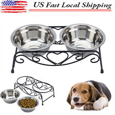 Elevated Stand Double Bowl Dog Cat Feeder Raised Dish Feeding Food Water Pet
