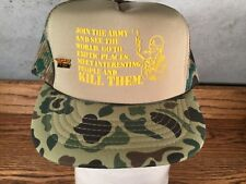 Vintage Us Army Truckers Hat SnapBack Mesh Camo 1970's Excellent Cond Novelty