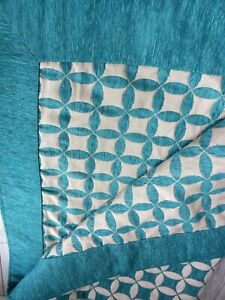 Cream Teal Bedspread Throw 180 X 142 cm