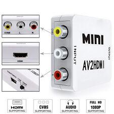1080P Composite AV CVBS 3AV 3RCA To HDMI Cable Converter Adapter White -US