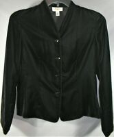Womens 8 Talbots Black Velvet Cropped 4 Button Collarless Jacket Blazer - EUC