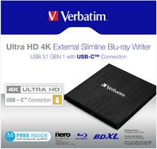 Verbatim Ultra HD 4K Slimline Extern Blu-Ray Brenner (43888)