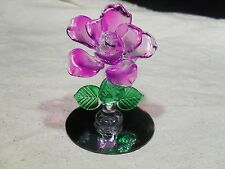 Hand Finished Glass Ornament ~ Glass Flower on Mirror Base ~ Purple