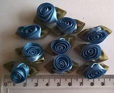 RIBBON ROSES x 10  Satin Large - Craft Wedding Baby Bunting Sew - Blue