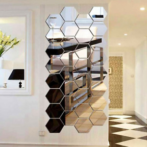 48PCS Acrylic 3D Mirror Effect Tile Wall Sticker Room Decor Stick Art Bathroom
