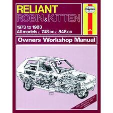 Reliant Robin Kitten 748cc 848cc 73-83 (hasta un reg) Haynes Manual