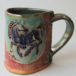Horse Pottery Mug Coffee Cup Handmade Stoneware Tableware Microwave