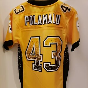 TROY POLAMALU PITTSBURGH STEELERS AUTHENTIC REEBOK SEWN STITCHED JERSEY  MEDIUM