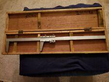 Vintage Vernier Caliper 24 Original Wood Box Machinist Tool Micrometer