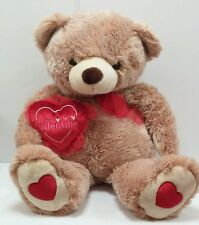 "Jumbo Huge 30"" Plush Brown Teddy BEAR Be My Valentine Large Red Heart Stuffed"