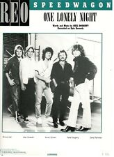 """REO SPEEDWAGON """"ONE LONELY NIGHT"""" SHEET MUSIC-PIANO/VOCAL/GUITAR/CHORDS-1985-NEW"""