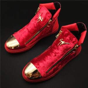 Men's Casual High-Top Sneakers Gold Velvet Short Boots Athletic Board Shoes