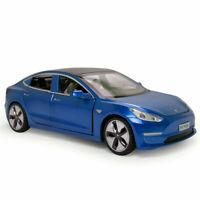 1:32 Tesla Model 3 Model Car Diecast Toy Vehicle Sound & Light Doors Open Blue