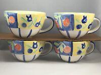 4 BELLA CERAMICA  Colorful Fruit 12 Oz. Mugs/Cups