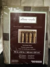 Allen Roth Roswell Rod Pocket Drape Curtain Green w/ Brown