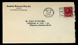 """1926 Postal Cover Canadian Universal Film Co. """"Chuckles of 1926"""" Issie Wilkes"""
