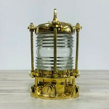 Solid Brass Nautical Piling Light With Fresnel Lens - 12.5 Inches Tall