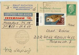 GERMANY DDR REPLY HALF USED FROM BUDAPEST, HUNGARY 1969, AIRPLANE CANCEL (A550)