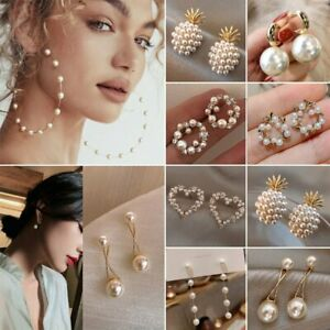 Fashion Women Pearl Crystal Ear Stud Earrings Drop Dangle Wedding Jewelry Gifts