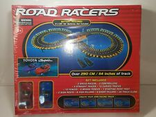 Road Racers Slot Car Set Toyota Supra - Track Perimeter Over 114 Inches Works
