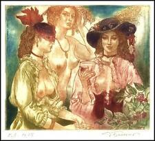 David Bekker 2013 Exlibris C4 Erotic Erotik Nude Nudo Woman Wine Wein d71
