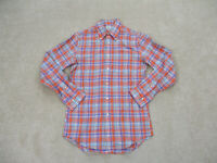 Brooks Brothers Button Up Shirt Adult Small Orange Purple Plaid Long Sleeve Mens