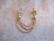 Gold Tone Fleur de Lis Swag Chain Double Pin Back