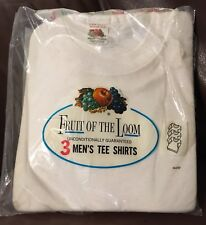 NOS Pack Of 3 Vintage White Fruit Of The Loom Medium 38-40 Cotton T-Shirts USA