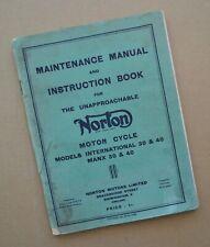 1940s-50s Norton Motorcycle Service Manual Book Manx 30 & 50 International 30&40