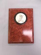 Baseball 5 x 7 plaque award trophy ruby color board silver metal insert
