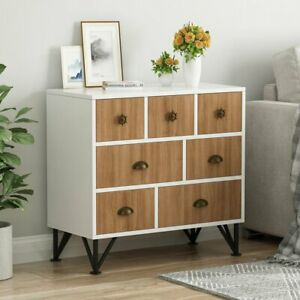 Wood Storage 7 Drawer Cabinet Chest For Living Room