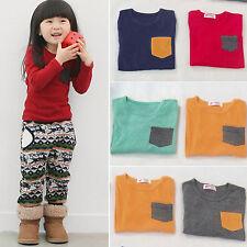 autunno inverno Bambini Ragazze T-shirt a maniche lunghe camicia tasca maglia