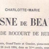 Charlotte Du Fresne De Beaumez De Rocourt De Ruitz 1884