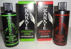 NOS c1960's HAI KARATE 4 0Z. COLOGNE & AFTER SHAVE - BOXED mint & ONE PRICE!