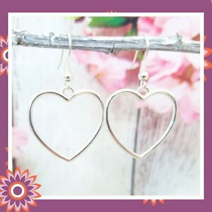 Silver Open Heart Earrings Long Tibetan Hearts Dangly Hook Love Romantic Gift