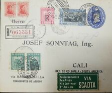 O) 1929 CIRCA-COLOMBIA, AIRMAIL  VIA SCADTA -TRIPLE FRANQUE-PORTE OF THREE COUNT