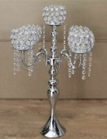 Crystal Wedding Party Silver Crystal Candelabra Candle Holder Centerpiece Romany