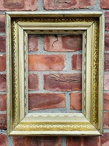 19th Century Gold Gilded Etched Patterned Deep Cove American Picture Frame