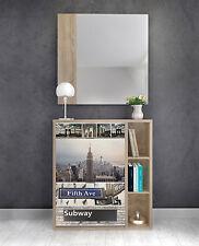Mueble recibidor color roble NY con zapatero y espejo incluido para la entrada