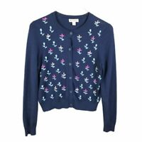Brooks Brothers Womens Cardigan Sweater Size M Blue Embroidered Floral Detail