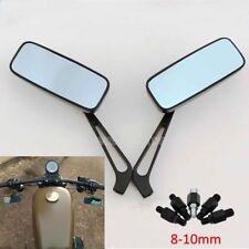 Black Motorcycle Rectangular Rearview Mirrors For Honda Suzuki Kawasaki 10mm