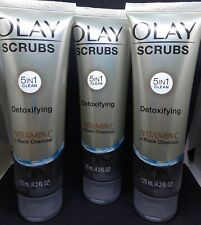 3 Tubes Olay Scrubs Detoxifying Vitamin C Black Charcoal 5in1 Clean, 4.2oz each