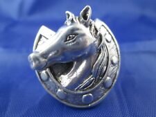 VINTAGE STERLING SILVER HORSE HEAD AND HORSESHOE RING            SIZE 10.25