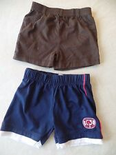 2 pair BABY BOYS SHORTS LOT navy boston red sox BROWN COTTON 6-12 MONTHS clean