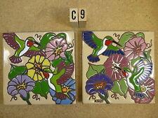 "Ceramic Art Tile 6""x6"" Two Pcs Set Hummingbird W/Flowers trivet wall new C9"