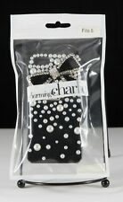 """NEW Charming Charlie's iPhone 5 Phone Case - Black Bow with """"Pearls"""""""